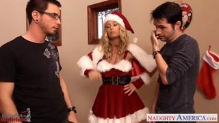 可爱的圣诞老人宝贝妮可安妮斯顿带两个鸡巴
