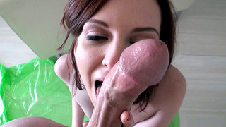 Teen cutie Emma Evins slurps up a man's dong in POV