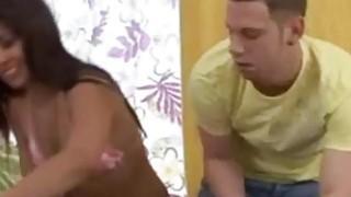 Ebony chick is being massaged