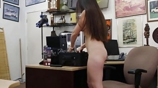 Ex dominatrix sells her stuff and fucked by horny pawn dude