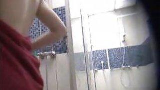 Amateur cuties spied in a public shower