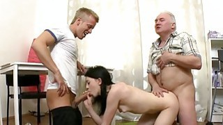 Teen chick takes old nasty ramrod in her mouth