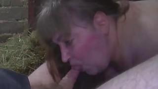 肥胖的德国妈妈在谷仓里挨打