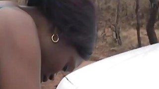 来自非洲的乌木青少年在户外需要白色的公鸡