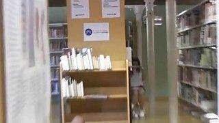 Latina coed fucks at library for cash
