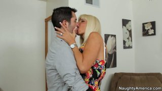 Ugly blonde mommy Kasey Storm gives a head in hall
