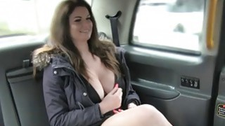 Huge boobs passenger banged by fake driver in the cab