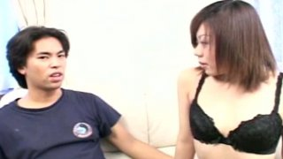 Ugly Japanese wench Wakana Motoki with horrible teeth strips on cam