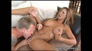 Delicious blonde mommy Demi Delia gets her muff eaten and banged