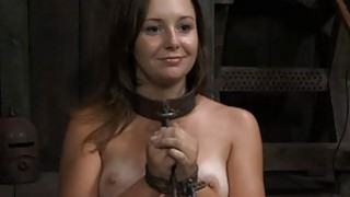 Gagged girl with clamped nipps gets wild joy