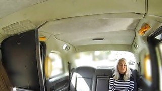 Busty blonde licks busty fake cab driver