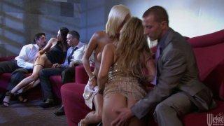 Party sluts Shyla Stylez, Jenny Hendrix and Kortney Kane blowjob orgy