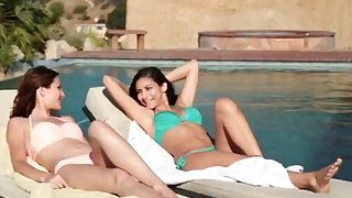Hot lesbian best friends jump in the pool for some lesbo fun